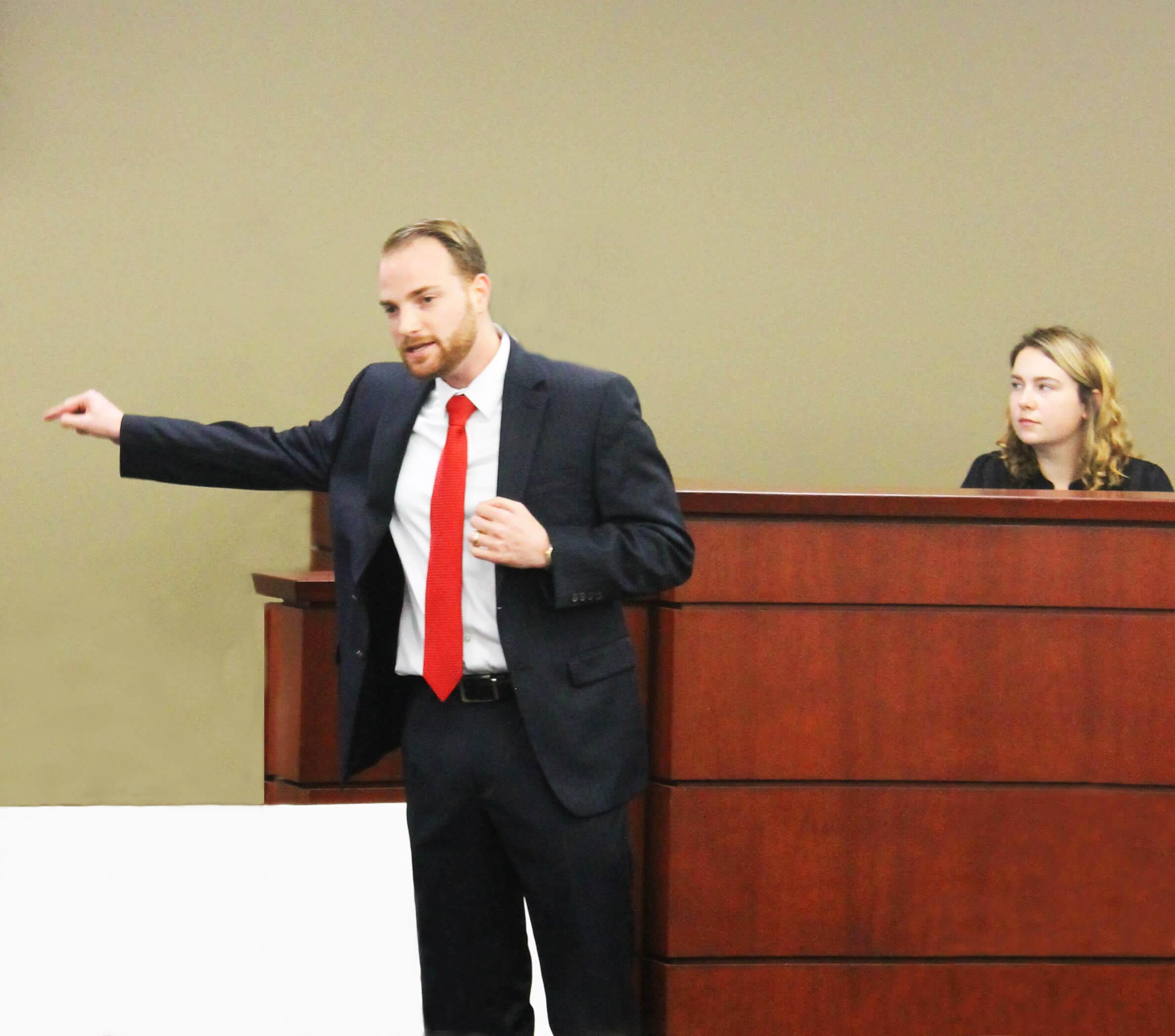 Man presenting evidence