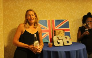Union Jack Flag with a woman
