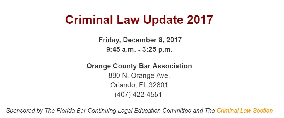 Criminal Law Update Notice 2017